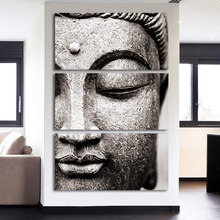 3 Panels Meditation Buddha Statue Vintage Home Decorations Wall Art Zen Picture for Family Room Spa Hallway Decor Drop Ship