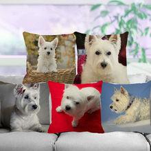XUNYU słodkie zwierzątko poduszka dla psa pokrywa West Highland White Terrier pościel rzuć poszewka na poduszkę dziecko Sofa poszewka dekoracyjna C0091 tanie tanio Dekoracyjne Seat Krzesło Samochód Pościel bawełna Drukowane Plac HANDMADE 其它 other Square