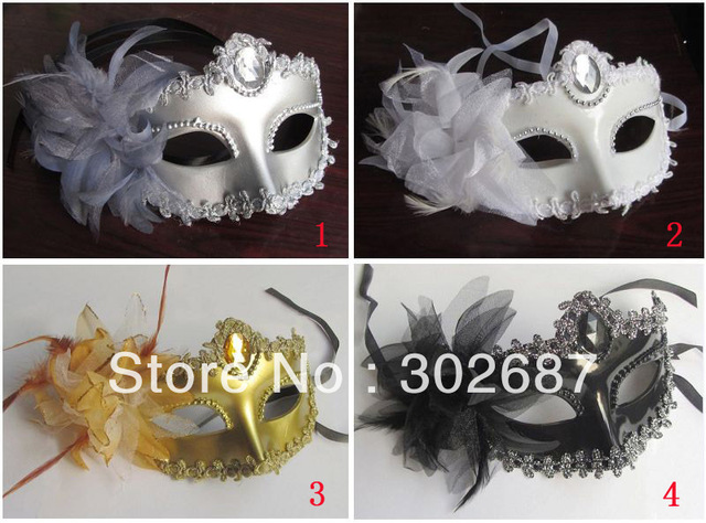 Half Faces Eye Masks With Lily on Side Masquerade Mardi Gras Venetian Halloween Costume Mask Free Shipping 20 pcs