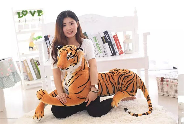 simulation animal prone tiger Plush toy large 130cm yellow tiger  birthday gift ,Xmas gift 0228 stuffed animal 110cm plush tiger toy about 43 inch simulation tiger doll great gift free shipping w018