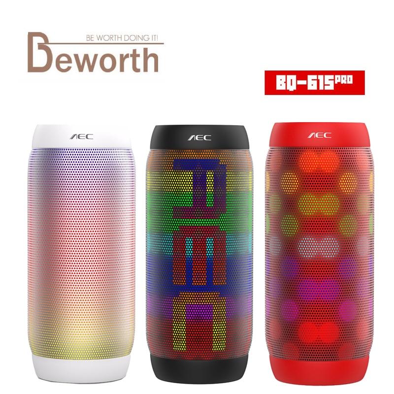AEC BQ-615 PRO HIFI Stereo Bluetooth Speaker Colorful LED Light Flash Wireless 3.5mm Audio Portable Subwoofer NFC Microphone FM