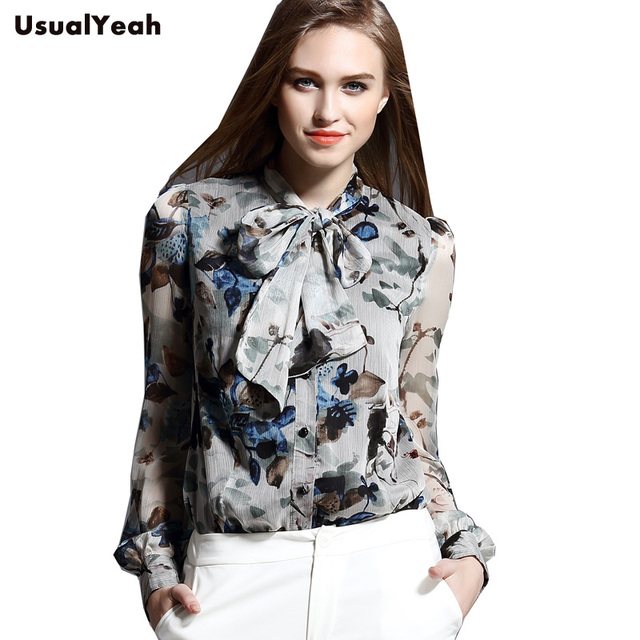 New 2018 Fashion Style Chiffon Floral Women's Body Blouse Tops Shirt Bow Collar Lantern Sleeve Blusa Feminina S M L XL
