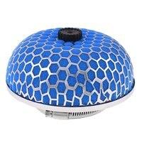 AUTO Car 3 76mm Diameter Air Intake Filter Mushroom Shape Blue Silver Tone