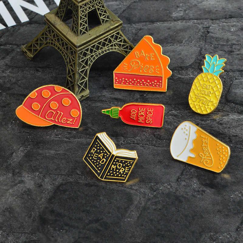 2019 Kartun Topi Kue Bir Read More Bumbu Nanas Pin Buah Bros Ikon Kemeja Pin Lencana Tombol Hadiah untuk Anak-anak gadis Perhiasan
