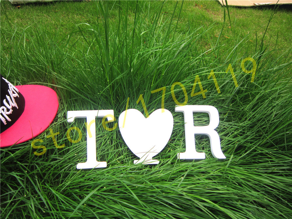 10cm Standing Artificial Wood white letters for Wedding Decorations Home Decorations Brithday Gift LOVE home heart