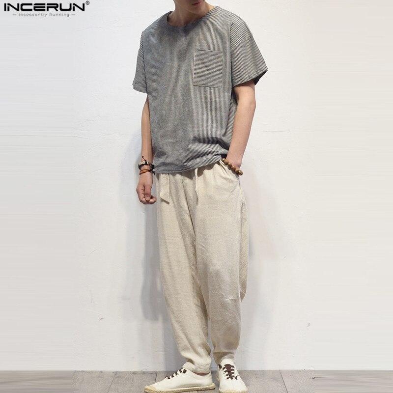 2018 New Loose Janpanese Style Hip Hop Mens T Shirts Cotton Linen Strip Crew Neck Long Sleeve Male Tops Brand Summer 3XL