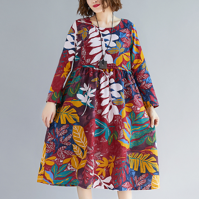 afe3422f5b Fashion 2019 New Women Dresses Casual Cotton Linen Spring Summer Dress Plus  Size Print Long Sleeve O-Neck Loose Vintage Dress