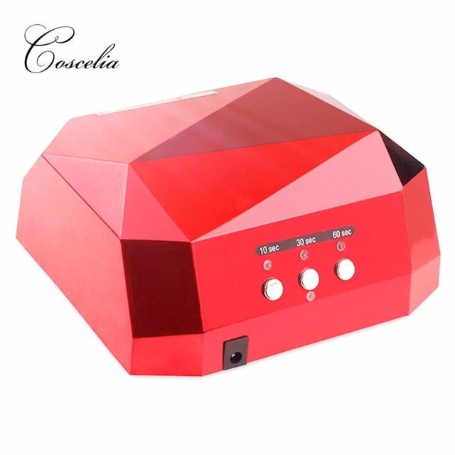 36 W נייל מייבש יהלומים בצורת LED מנורת UV נייל מנורת LED & CCFL ריפוי עבור UV ג 'ל לק מניקור