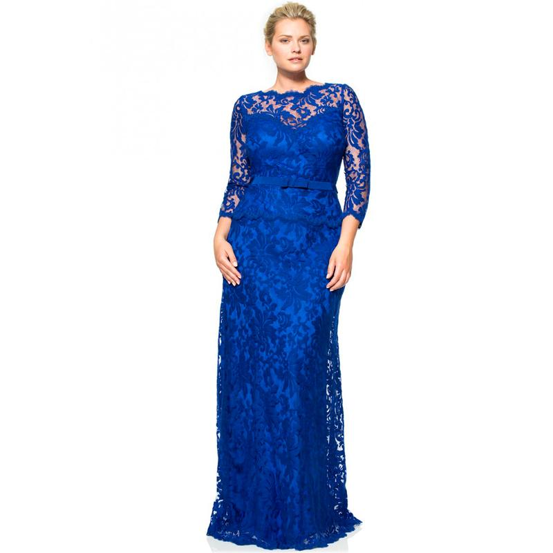 dfcfc0ee7d Elegant Royal Blue Plus Size Mother of the Bride Lace Dresses Pant Suits Groom  Dresses Gowns with Long Sleeves