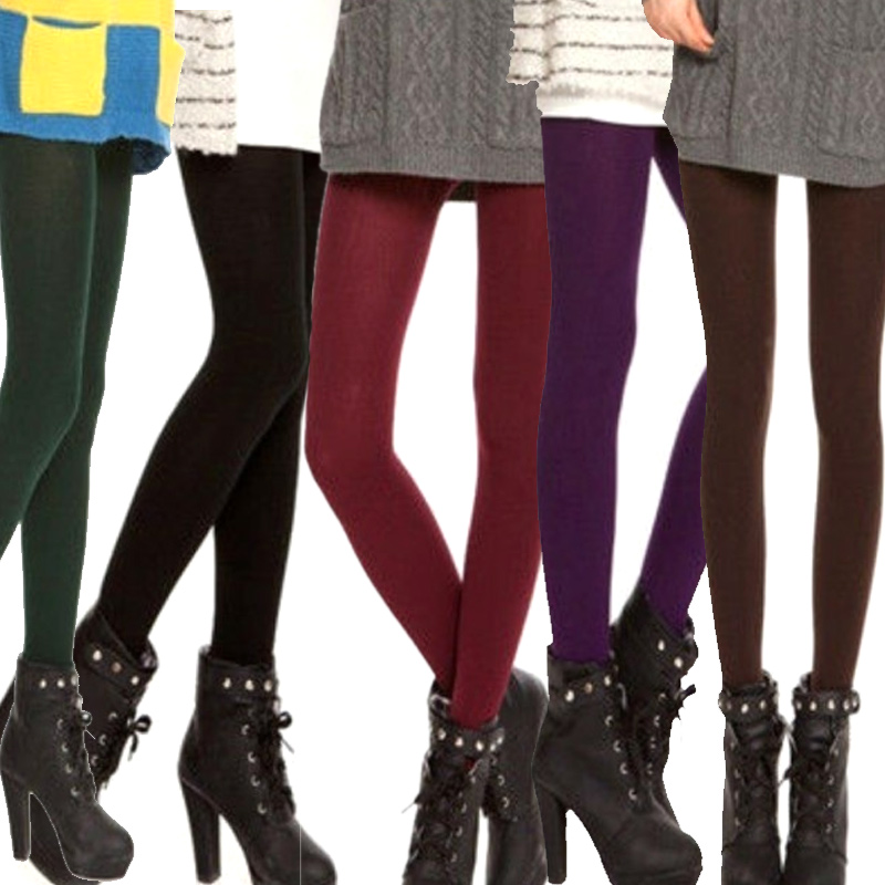 Fashion Women Fleece Velvet Winter Warm Knitted Thick Slim Fitness Elastic Tight Pants NGD88