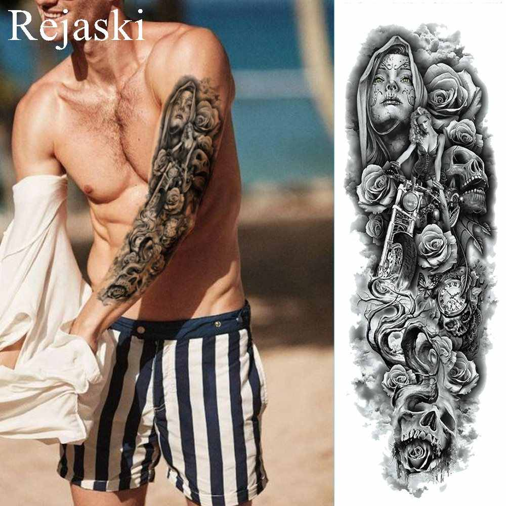 ae6758bda Black Mask Nun Rose Temporary Tattoo Stickers Men Full Arm Art Fake Tattoo  Women Makeup Shoulder