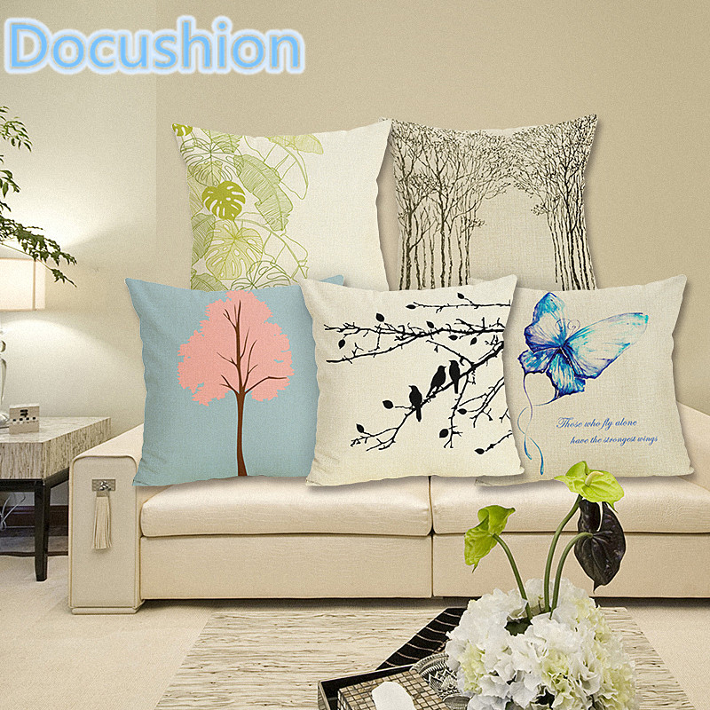 Birds And Tree Print Cushion Cover Decor Decorative Cushion Case Throw Pillow Cover Line ...