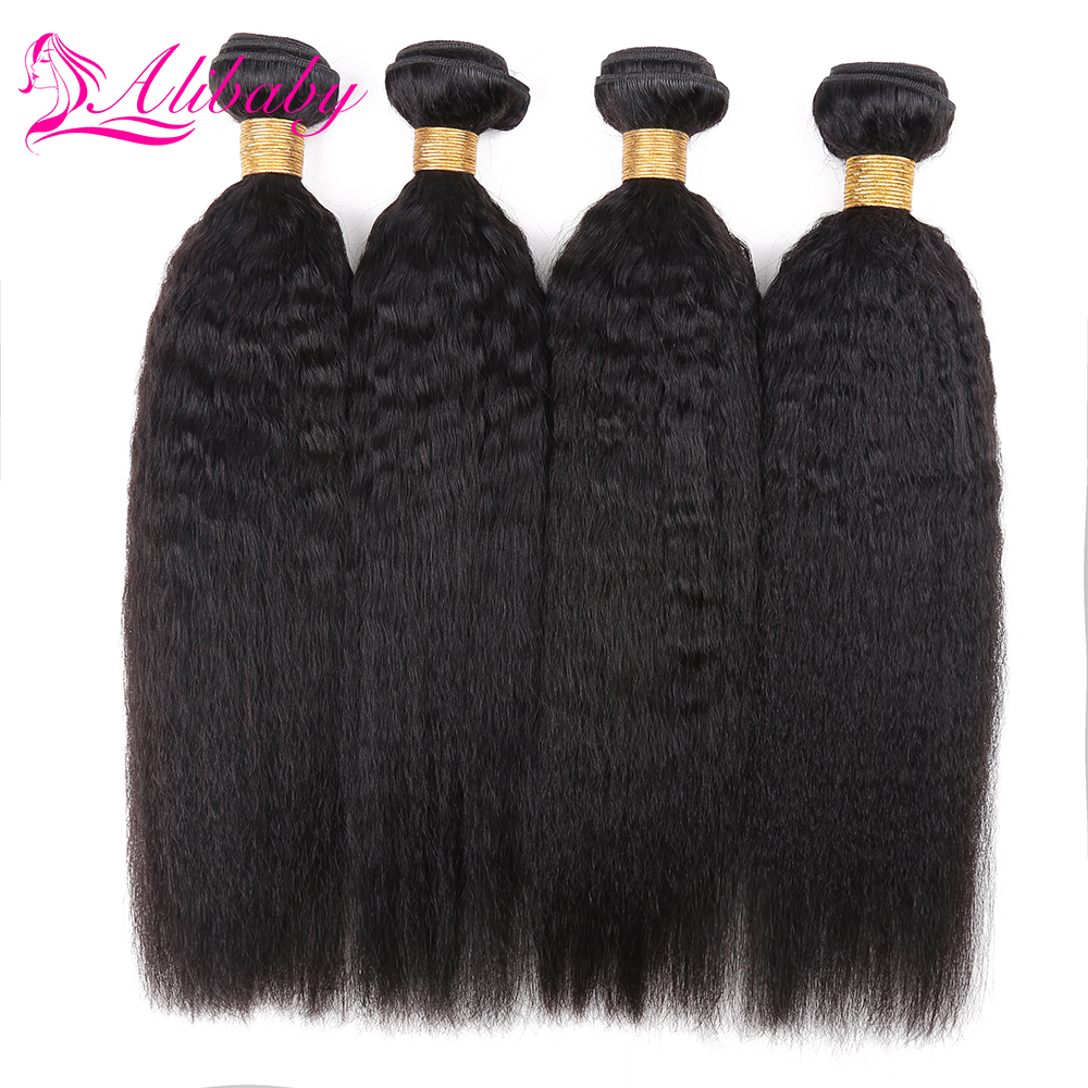 Alibaby Indian Hair Weave Bundles Kinky Straight Hair 4pcs/Lot Non Remy 100% Human Hair Bundles Natural Color Weave Extensions