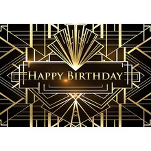 Photography studio Happy Birthday Party Photography Backdrops Gold and Black Senior Prom Background Photo Booth Studio G-644
