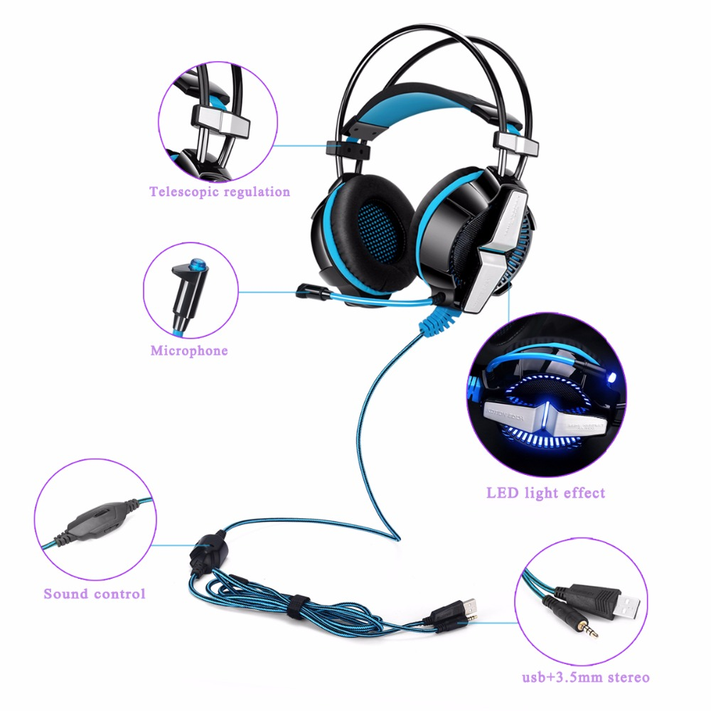 KOTION EACH GS700 Deep Bass Stereo Gamer Headset 3 5mm Earphone Gaming  Headphone With Microphone Led light For Gamer PC