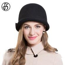 74c1ce63e4fec FS invierno sombreros flexibles para las mujeres lana Cloche fieltro  sombreros Negro Azul Bow Curl Birm señora tapa Sombrero Muj.