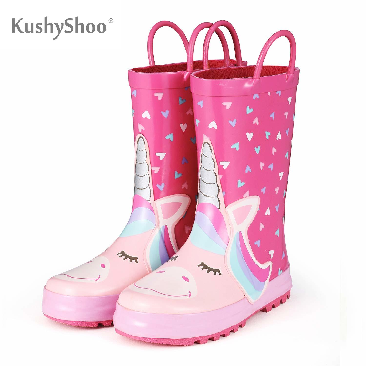 KomForme Kids Rain Boots Girl Pink Heart Unicorn Rubber Boots Waterproof Overshoes Water Shoes Rubber Shoes Kids Boots Girls