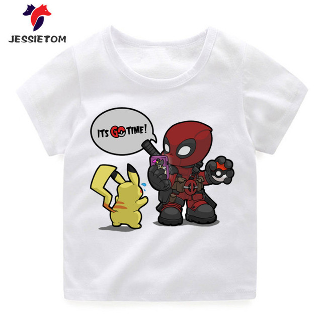 bfadede7a Children s Deadpool Pokemon GO Time Design Funny T shirt