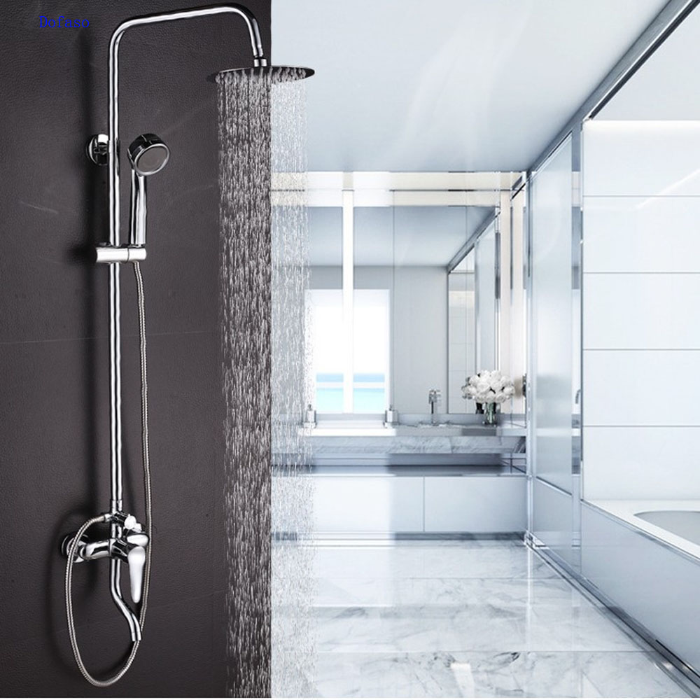 Dofaso shower set Stainless Steel Wall-mounted Rain style Rainfall Bath Tub Shower Faucet Mixer Tap Complete Set
