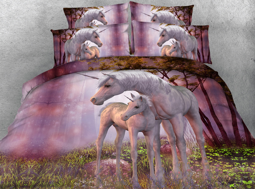 Unicorn Series Kids Single Bed Purple 3d Unicorn Print