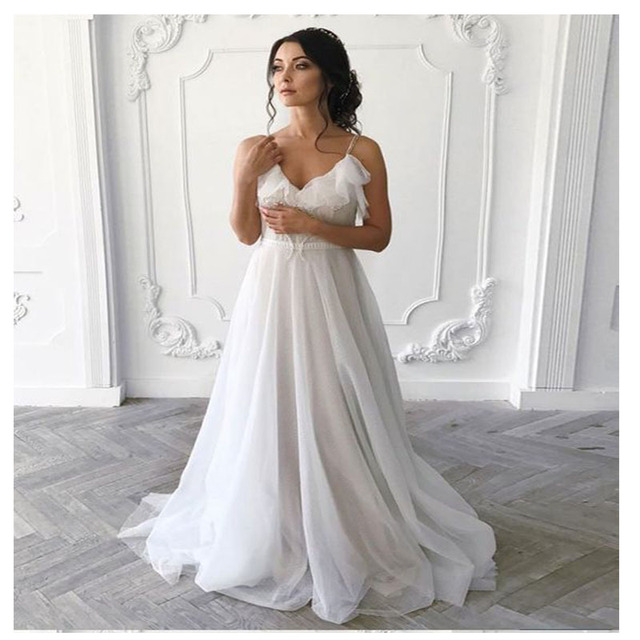 LORIE Boho Wedding Dress 2019 A-Line Sexy Backless Beach Bride Dress  Wedding Gown Free Shipping 50a01014aed2