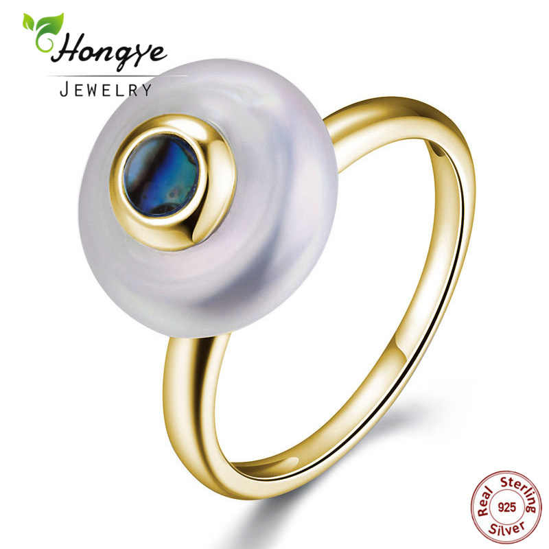 Hongye 100% Natural Freshwater Pearl Rings 925 Sterling silver jewelry Oblate 2.5CM Fashion Designer Gold Ring for Women Wedding