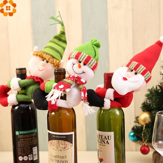 1pc christmas bottle sets santa claus wine bottle cover holders gift bags home decor wedding - Christmas Bottle Decorations