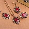 Старинные Турецкие Ювелирные Наборы Ожерелье & Серьги и Кольцо Цветы Royal Дизайн Полные Кристаллы Античная Позолоченный Bijuterias