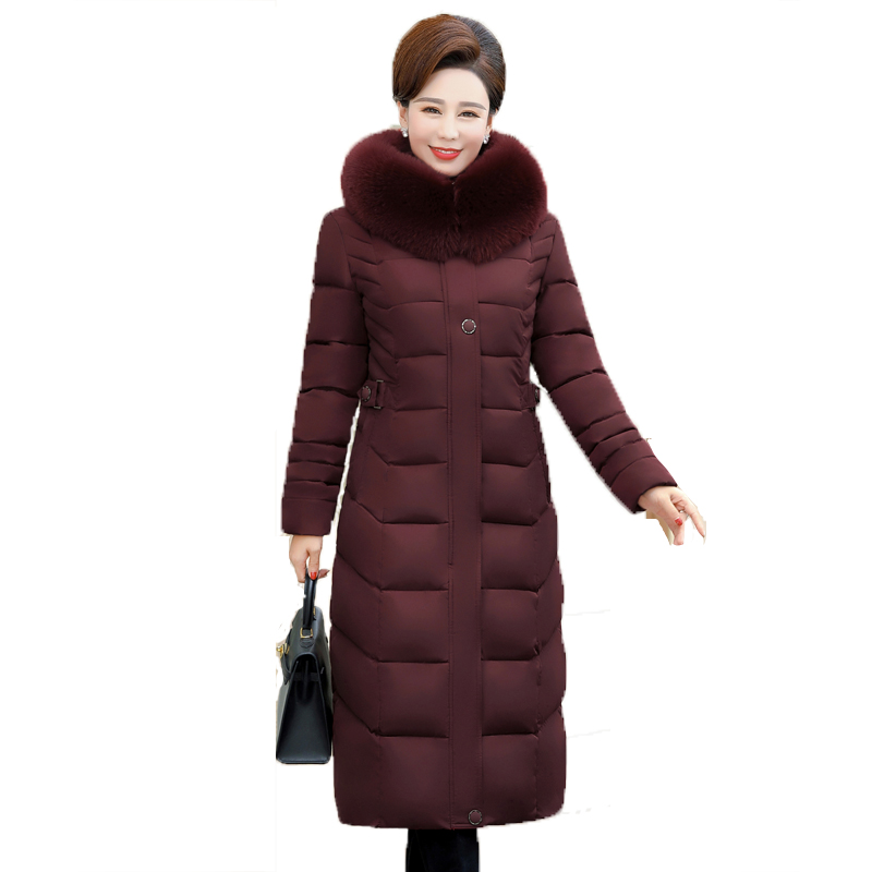 High Quality Women Winter Down Jacket With Fur Collar Hooded Warm Thicken Female Coat X-long Ladies Parka Parkas