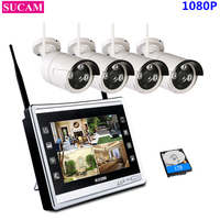 SUCAM 4CH 1080P NVR Kit Wireless CCTV System 2MP IP Wifi Camera Outdoor Security Surveillance Kit With 11 LCD Monitor Screen