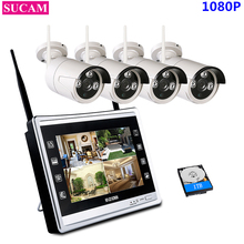 SUCAM 4CH 1080P NVR Kit Wireless CCTV System 2MP IP Wifi Camera Outdoor Security Surveillance Kit With 11″ LCD Monitor Screen