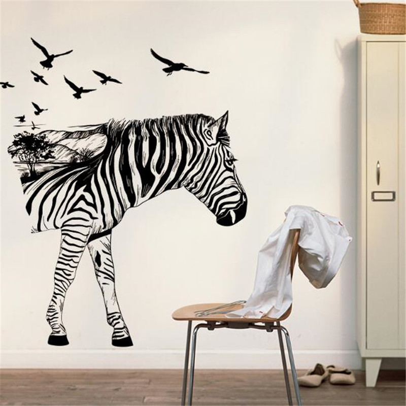 IDFIAF Zebra wall decals modern art decoration for your kitchen