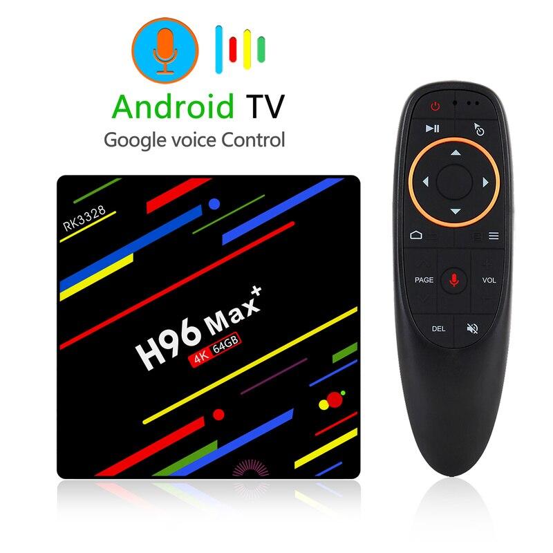 H96 MAX Plus ATV TV Box Android 9.0 décodeur intelligent avec télécommande vocale RK3328 4GB 64GB 5G Wifi 4K H.265 lecteur multimédia