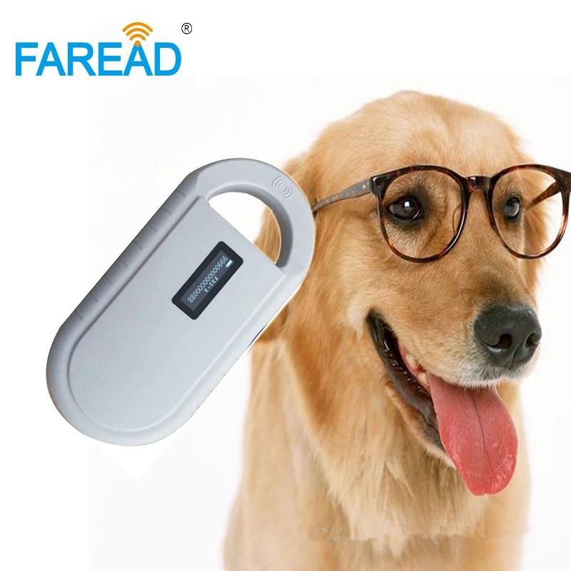 1pc RFID animal dog pet/ear tag/glass tag ID handheld reader+x10pcs 1.4x8/2.12x12mm 134.2KHz ISO chip microchip injector syringe