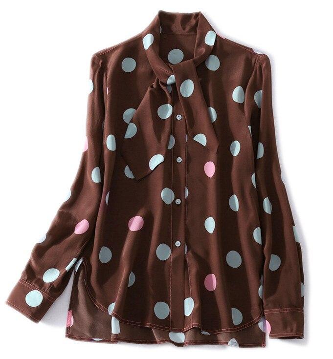 Haut Szyxf Tous Multicolore Dot Chemisier Femelle Manches Polka Taille Col Printemps Plus La Xl En Femmes Soie À De 2018 Match Longues Les BvaqwOxq