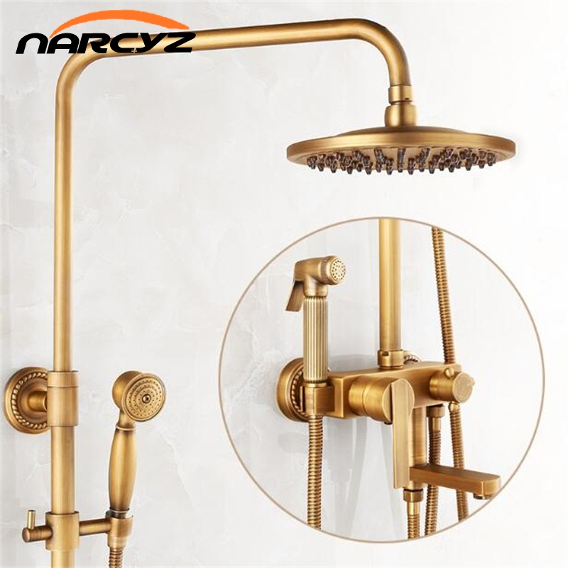 NEW Single Handle In Wall Shower Mixer Faucet with 8 rain shower head / swivel tub spout/hand shower /bidet sprayer head XT350 kemaidi new modern wall mount shower faucet mixer tap w rain shower head