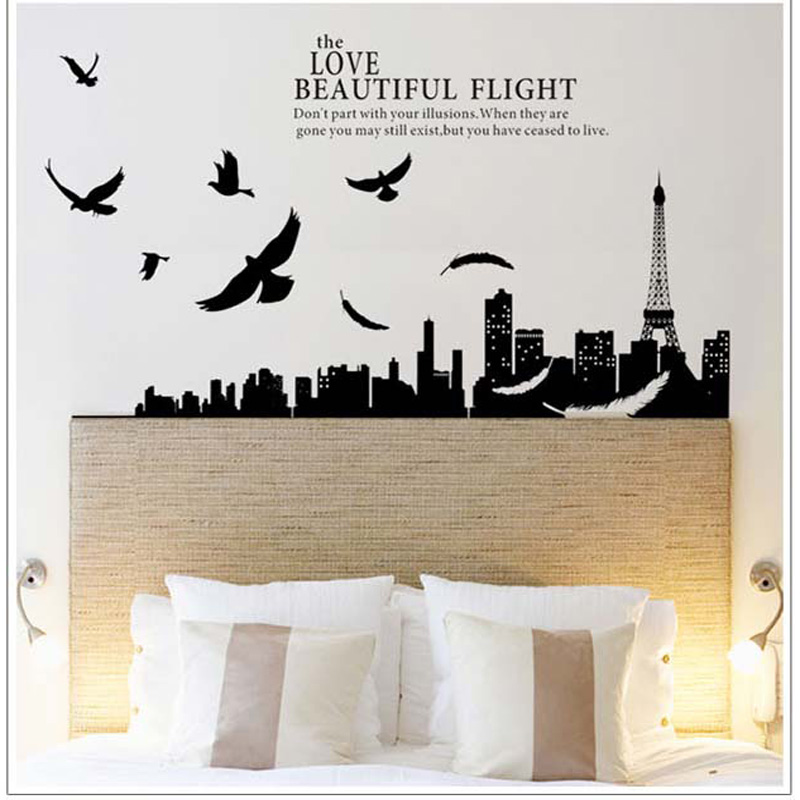 Paris Decals Wall Art compare prices on eiffel tower decal black- online shopping/buy