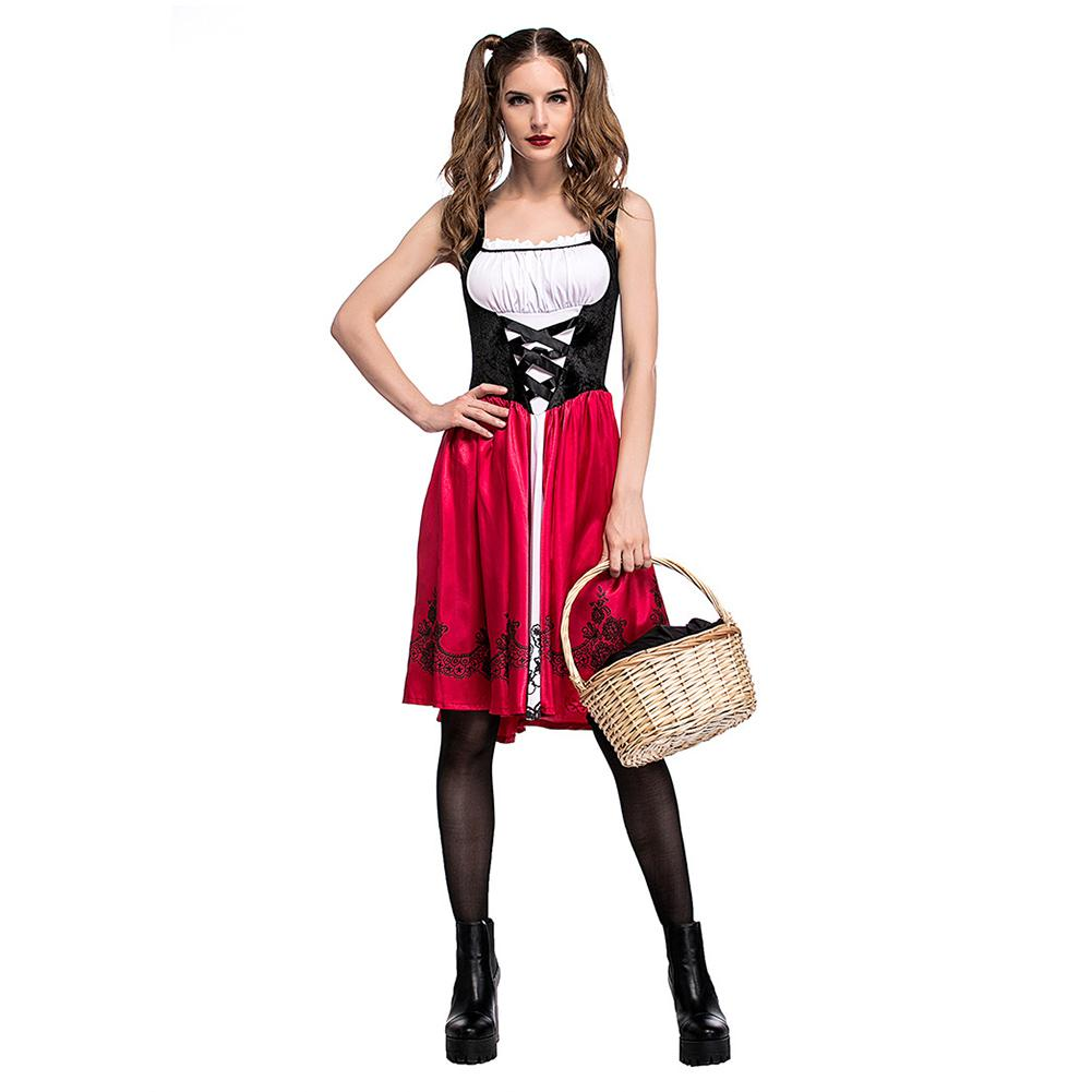 <font><b>Halloween</b></font> Costumes For Women <font><b>Sexy</b></font> Cosplay Little Red Riding Hood Fantasy Game Uniforms Fancy Dress Outfit M-2XL <font><b>Queen</b></font> Costume image