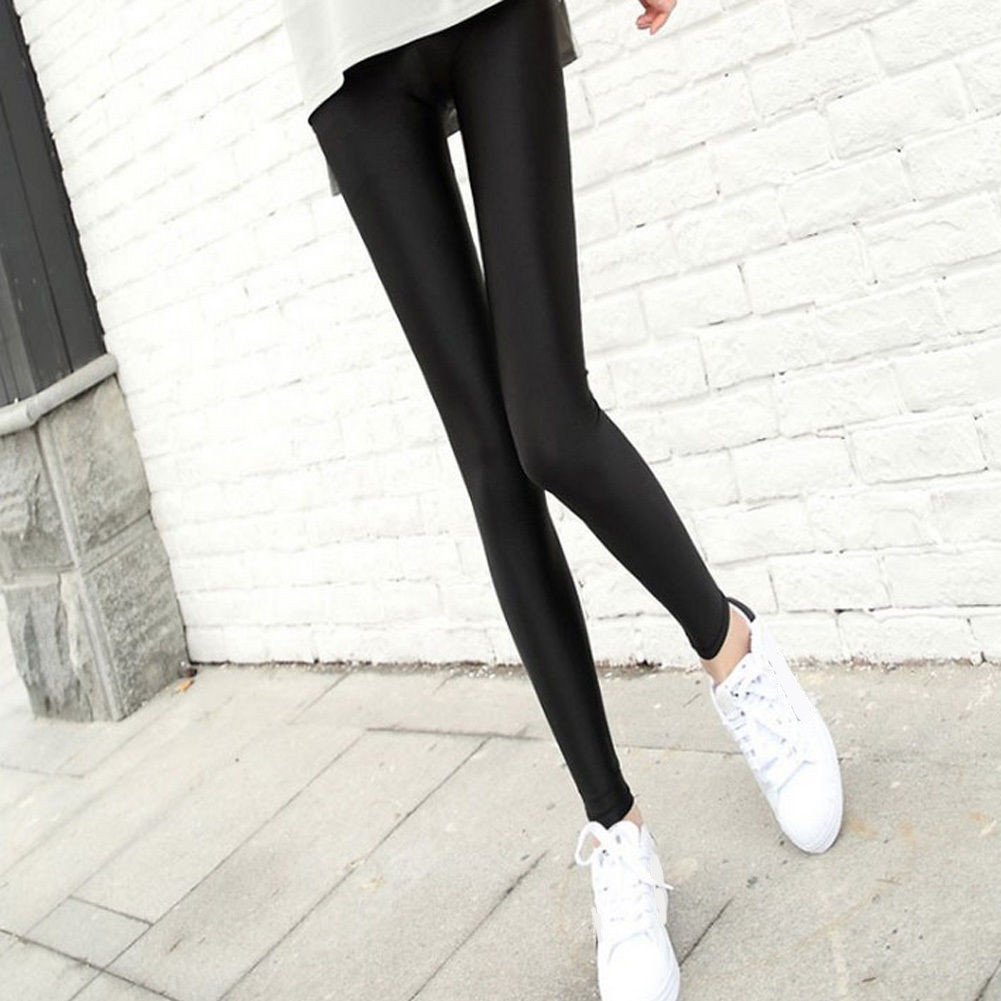 Women Slim Nylon Pants Sexy High Waist Stretchy Pants Trousers Black Pencil Pants Female Bottom