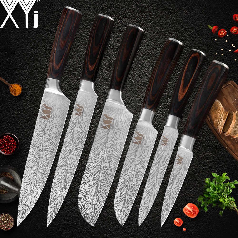 XYj Edelstahl Küche Kochen Messer Set Farbe Holz Griff 7cr17 Scharfe Klinge Kochmesser Hotel Küche Werkzeug Zubehör