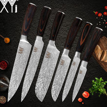 XYj Stainless Steel Kitchen Cooking Knives Set Color Wood Handle 7cr17 Sharp Blade Chef Knife Hotel Kitchen Tool Accessory(China)