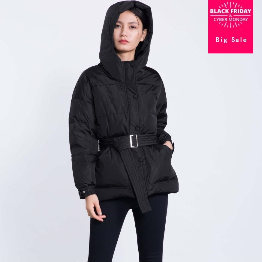 Winter new fashion brand real duck   down     coat   female single breasted hooded with belt hooded warm   down   jacket wq123 dropship