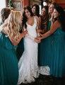 Country Lace Beach Wedding Dress 2016 Long Sleeve Illusion Wedding Dresses Vintage Wedding Gowns Boho Bridal Dresses PB55