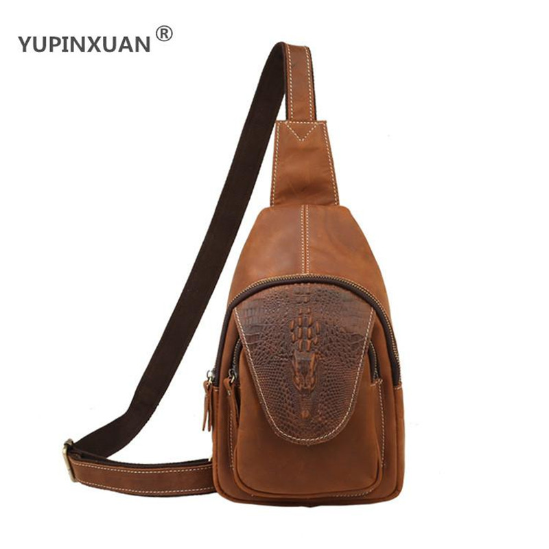 YUPINXUAN Vintage Crocodile Pattern Cow Leather Chest Bags for Men 3 Colors Retro Crazy Horse Leather Chest Pack Small Sling Bag yupinxuan vintage cow leather messenger bag for men luxury crocodile grain chest bags cowhide crossbody bag chest packs russian