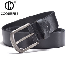 COOLERFIRE Belts for men high quality cow genuine leather vintage New designer pin buckle ceinture mens belts luxury JTC008