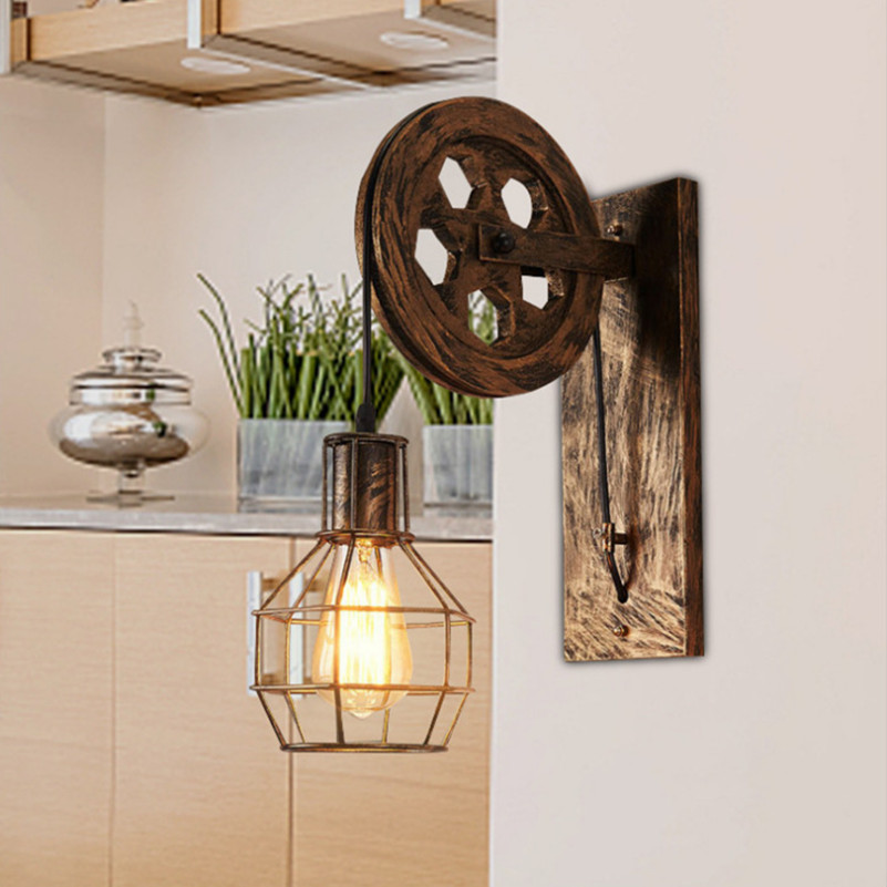 Novelty Lamp Retro Lifting Loft Wall Light 220V Vintage LED Iron Industrial Indoor Home Lighting Sconce Wall Lamps Living Room high quality modern wall lamp vintage creative industrial loft retro wall sconce light living room bedroom warehouse stair lamps