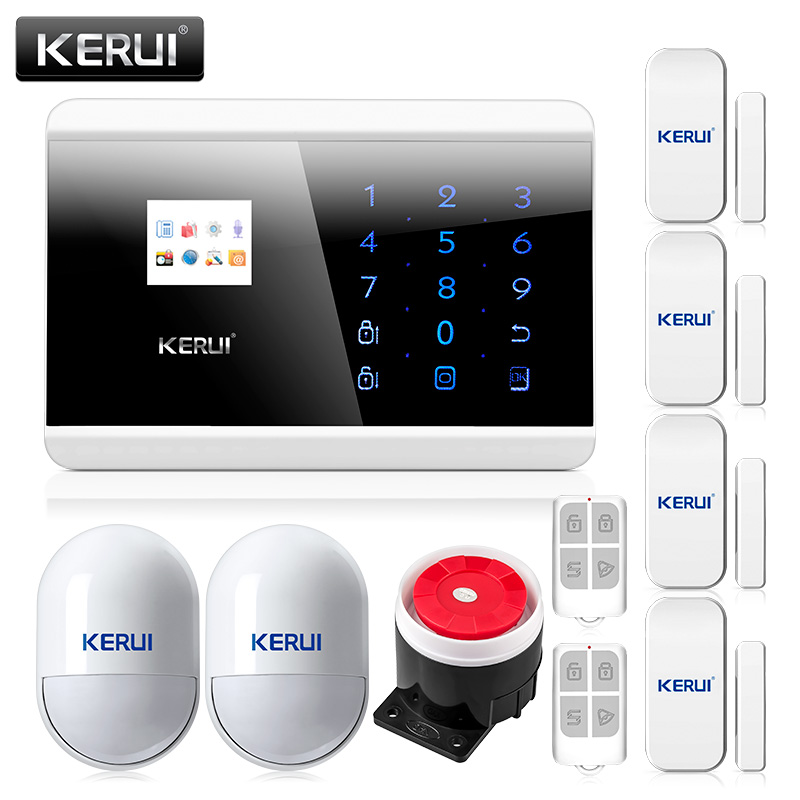 Kerui 8218G 99 wireless zone and 2 wired Quad-Band LCD Screen home security PSTN GSM alarm system with 2pcs Motion sensors yobang security touch lcd screen pstn sms alarm system home security gsm alarm system quad band wireless alarm panel