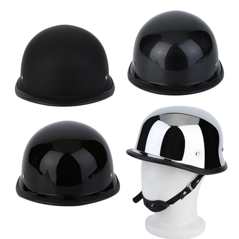 L/XL Electroplating Matte German Style Vintage Motorcycle Steel Helmet Durable Half Face ...