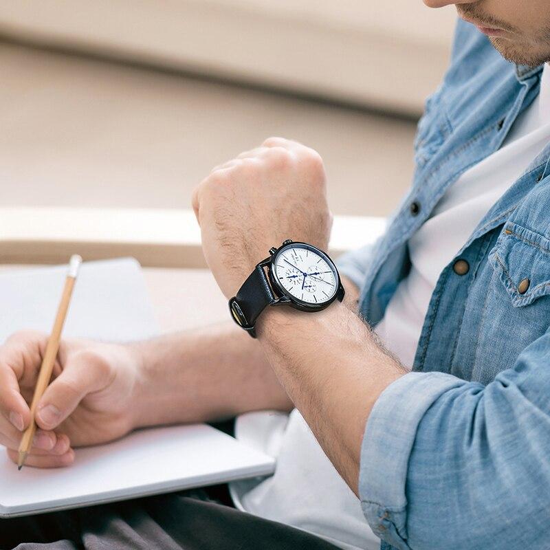 Хронограф мужские часы лучший бренд класса люкс кожаный ремешок Спортивные кварцевые наручные часы Multi-function наручные часы Adam Gallagher