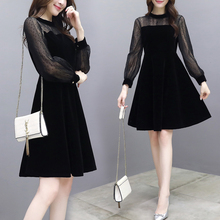 new mesh lace midi dress women gold velvet spring and autumn black Party French retro dresses robe femme clothes